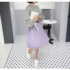 Miamasvin - Pleated Midi Surplice-Wrap Skirt