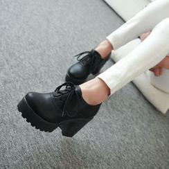Pastel Pairs - Platform Block Heel Lace Ups