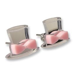 Sweet & Co. - Sweet Mirror Pink Hatter Ribbon Stud Earrings