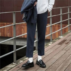 STYLEMAN - Flat-Front Stripe Dress Pants