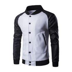 Fireon - Faux Leather Sleeve Baseball Jacket