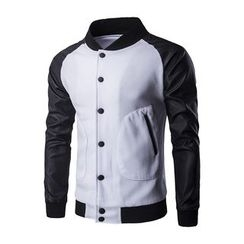 Fireon - 仿皮袖棒球外套