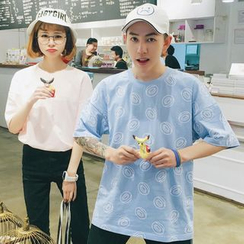 Evolu Fashion - Couple Matching Print Short-Sleeve T-Shirt