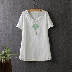 Blue Rose - Embroidered V-neck Short-Sleeve T-shirt