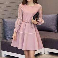 Queen Bee - Lace Panel Long-Sleeve Dress