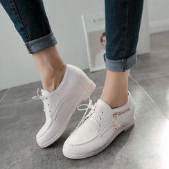 Pastel Pairs - 拉鍊細節內增高繫帶鞋