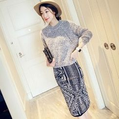 Romantica - Set: Melange Cropped Knit Top + Patterned Pencil-Cut Skirt