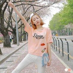 OrangeBear - Sequined Print Short-Sleeve T-Shirt