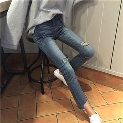 Anlay - Slim-Fit Distressed Elastic Cropped Jeans