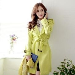 SUVINSHOP - Double-Breasted Trench Coat with Sash