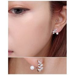 Miss21 Korea - Leaf Rhinestone Earrings