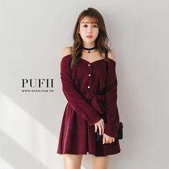 PUFII - 正韓一字領吊帶排釦露肩厚雪紡連身裙
