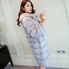 Fluff Snowy - Faux-Fur Hooded Coat
