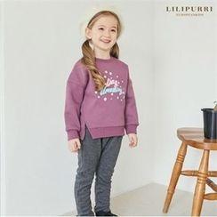 LILIPURRI - Kids Set: Brushed Fleece Lined Lettering Top + Sweatpants