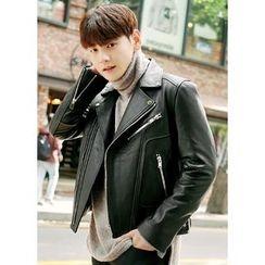 JOGUNSHOP - Genuine Leather Rider Jacket