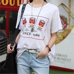 CHICFOX - Printed Short-Sleeve T-Shirt