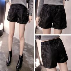GLIT - Faux Leather Band Waist Shorts