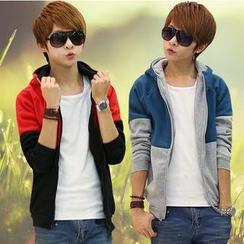 Y!SHIER - Color-Block Hooded Sweatshirt