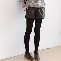 Forest Girl - Band Waist Faux Leather Shorts