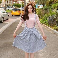 Cherryville - Gingham Suspender Skirt