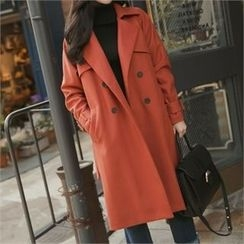 O.JANE - Double-Breasted Wool Blend Trench Coat with Belt