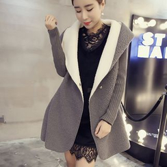 KAKAGA - Knit-Sleeve Hooded Fleece Coat
