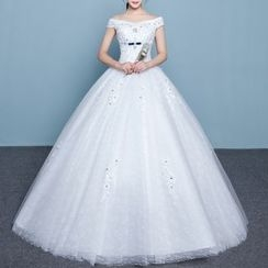 Luxury Style - Embellished Off Shoulder Wedding Ball Gown