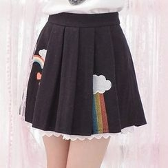 Moriville - Rainbow Embroidered Pleated Skirt