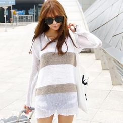 REDOPIN - Color-Block Open-Knit Top