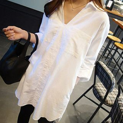 Rocho - Split-collar Long Blouse