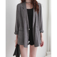 NIPONJJUYA - Long-Sleeve Double-Breasted Check Jacket