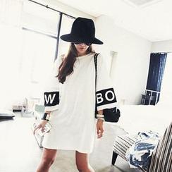 NANING9 - Drop-Shoulder Printed T-Shirt Dress