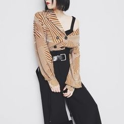 Sonne - Double-Breasted Lapel Striped Chiffon Top
