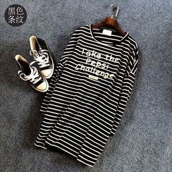Grainie - Lettering Striped Long-Sleeve Tunic