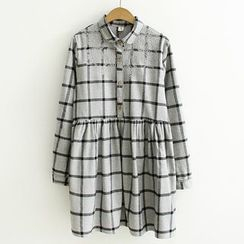 ninna nanna - Embroidered Check Long-Sleeve Shirtdress