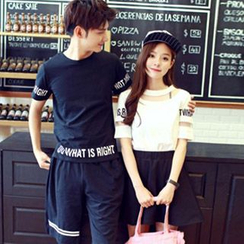 Fashion Street - Couple Matching Lettering T-Shirt