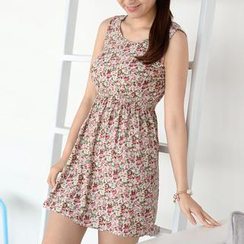 59 Seconds - Floral Print Sleeveless A-Line Dress