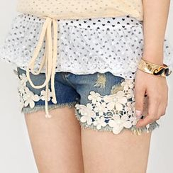 59 Seconds - Crochet Overlay Denim Shorts