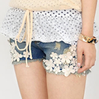 59 Seconds - Crochet-Lace Denim Shorts
