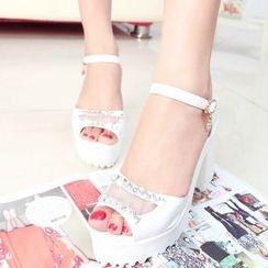 Sunsteps - Rhinestone Chunky Heel Sandals