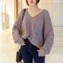 Shiga - 麻花針織V領粗織毛衣