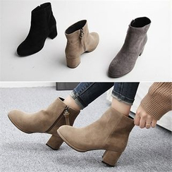 Reneve - Chunky-Heel Faux-Suede Ankle Boots