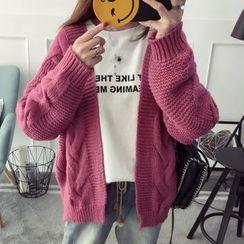 Qimi - Plain Cable Knit Cardigan