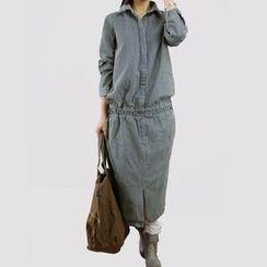 YORU - Striped Midi Shirtdress