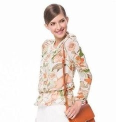 O.SA - Printed Gathered-Waist Chiffon Blouse