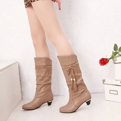 Pretty in Boots - Tassel Ruched Tall Boots