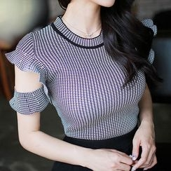 MyFiona - Cut-Away Short-Sleeve Check Knit Top + Midi Knit Pencil Skirt
