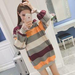 November Rain - Stripe Mock-neck Sweatshirt