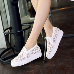 Shoes Galore - Lace Panel Slip Ons
