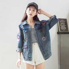 nika nila - Applique Buttoned Denim Jacket